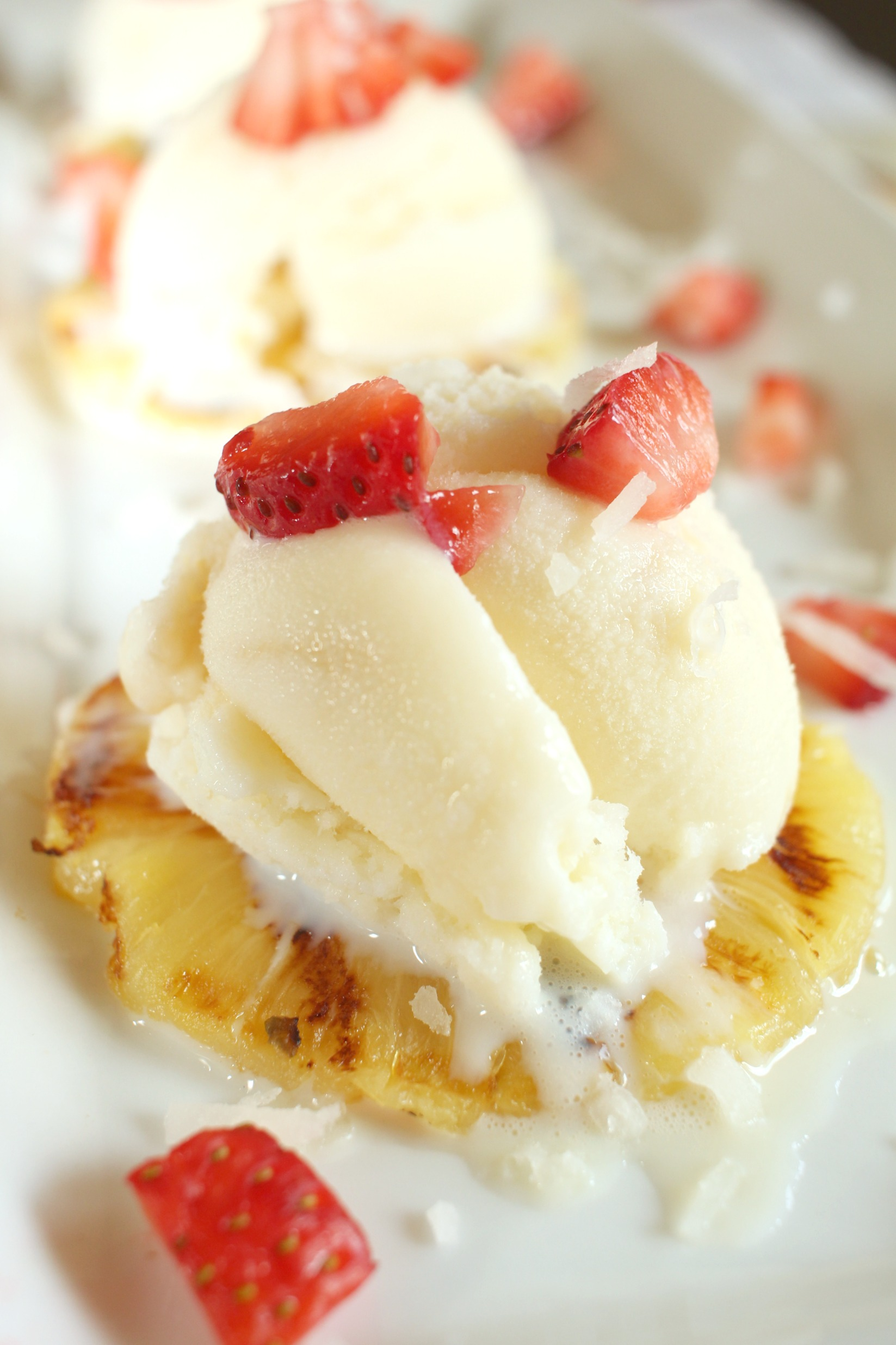 Take summer entertaining to a whole new level with this delicious Grilled Pineapple a la mode. Topped with  Open Nature® Scandal-Less Sea Salt Caramel Ice Cream