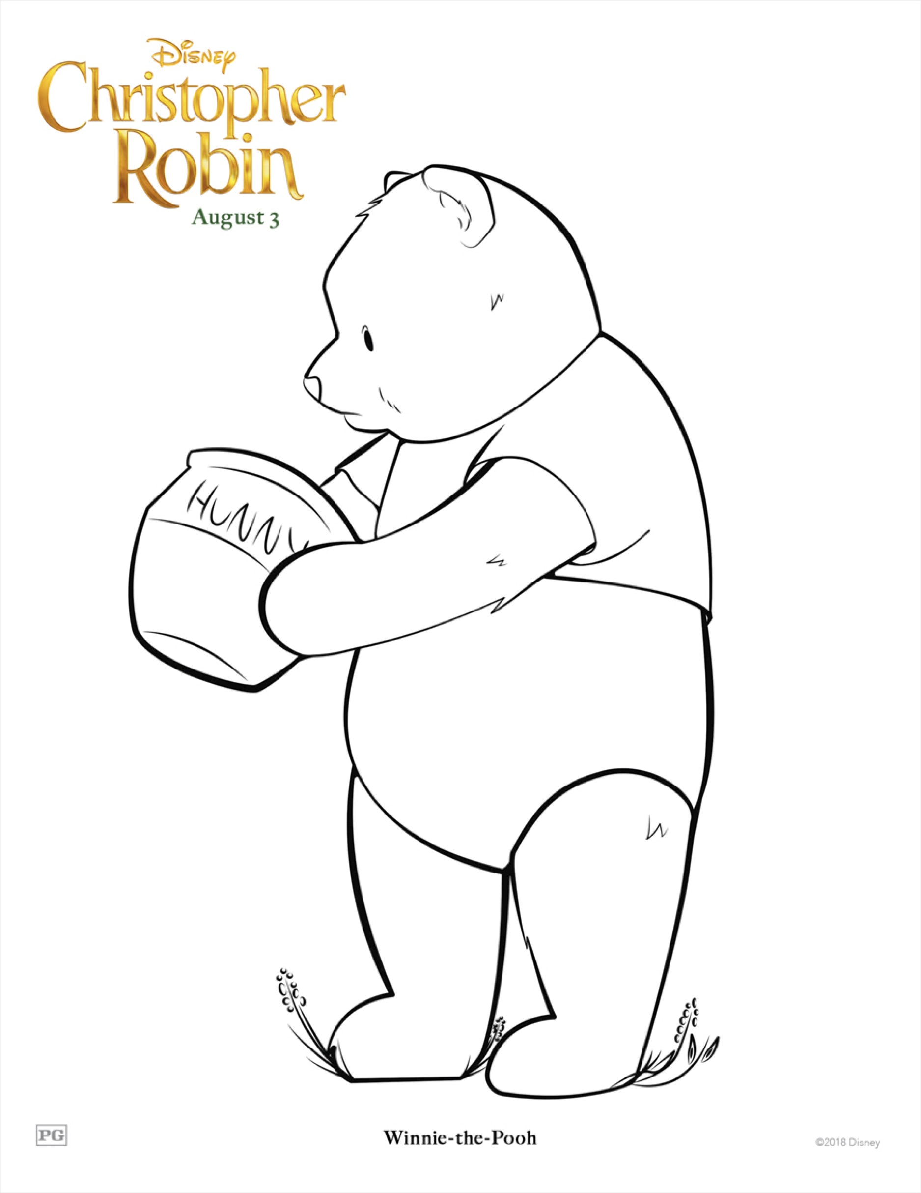 Christopher Robin Pooh Coloring Sheet