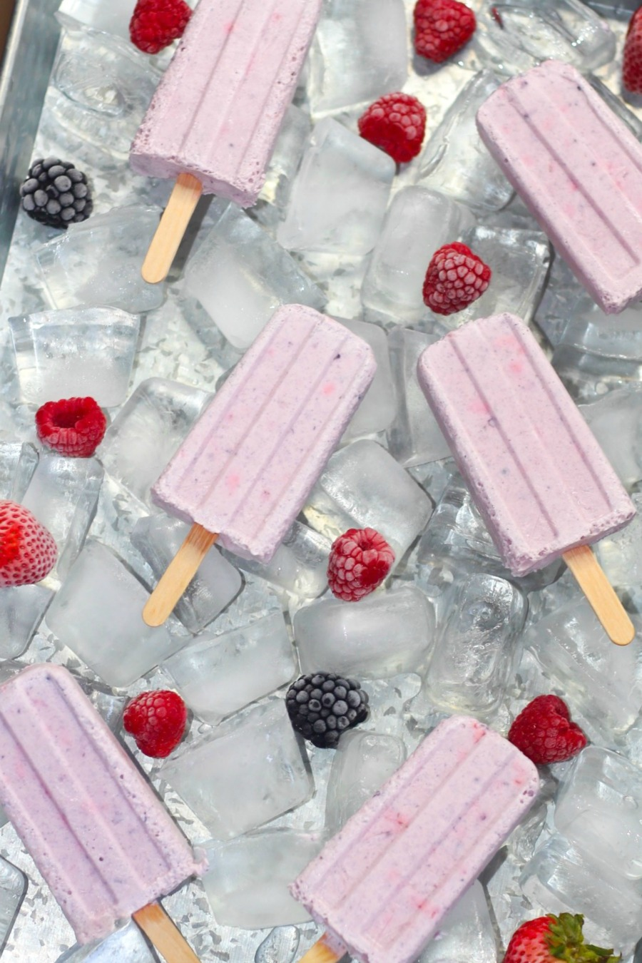 Made with only FIVE ingredients, these Berries and Cream Frozen Pops are Keto friendly and delicious!