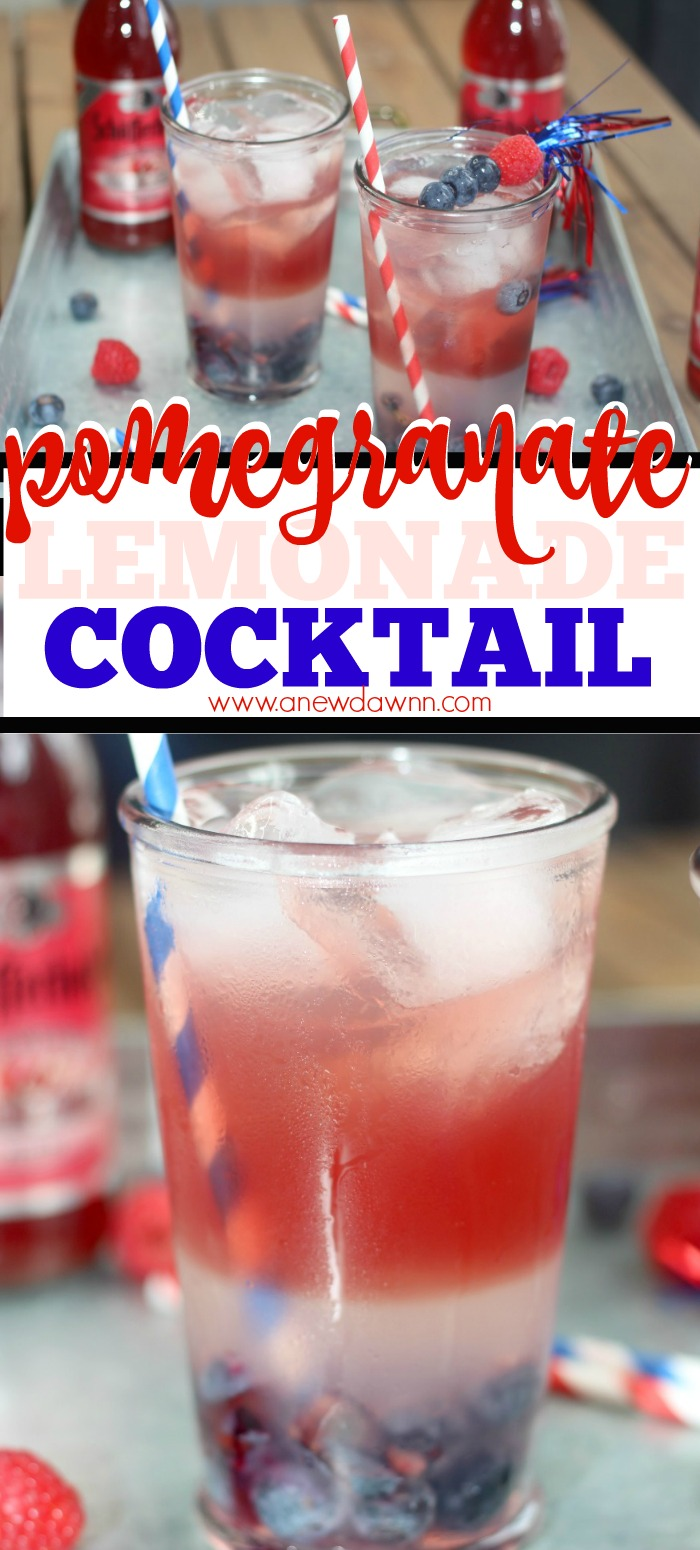 Patriotic Pomegranate Lemonade Cocktail will be the star of your summer parties!