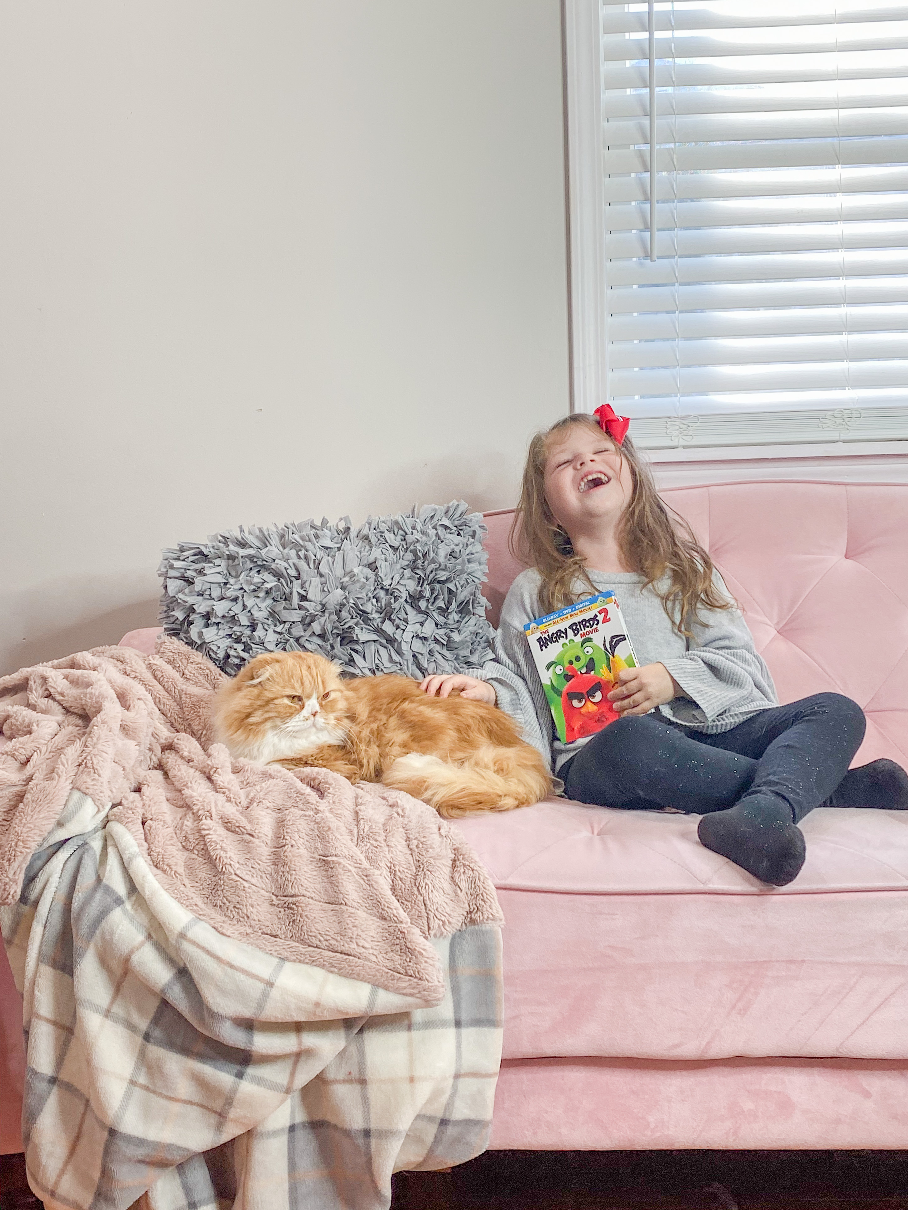 Girl sitting on couch with Angry Birds Blu-ray disc and cat