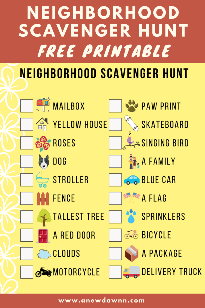 Neighborhood Scavenger Hunt Free Printable