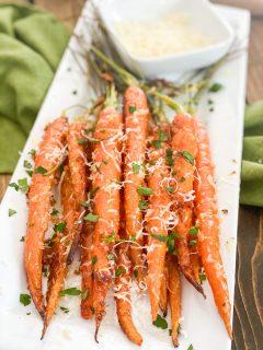 garlic parmesan carrots on a plate