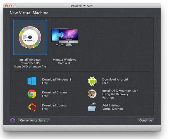 Parallels Desktop 8 for Mac: new virtual machine installation