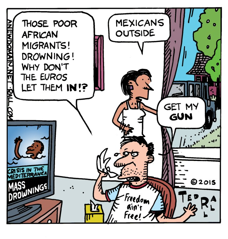 "Americans are sympathetic to the plight of African immigrants drowning while trying to enter Europe, but much less so when the ""illegal immigrants"" are coming from Mexico into the United States"
