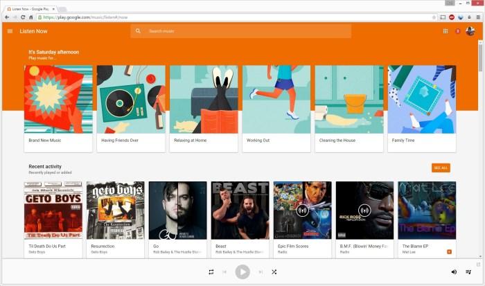 google play music main-screen