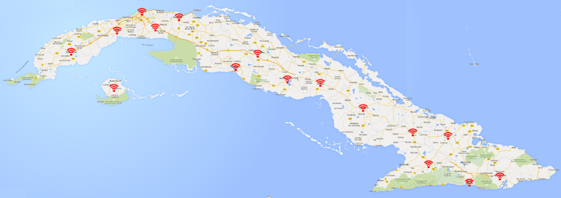 Cuba WiFi hotspot map cuban internet