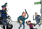 ted rall vs la times vs lapd cartoon
