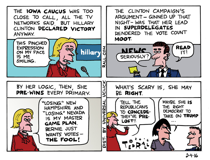 Pre-Winning ted rall cartoon hillary clinton pre winning iowa