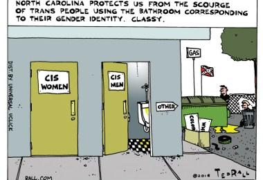 Ted Rall, Bathroom Laws, North Carolina, trans, cartoon, anewdomain