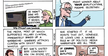 bernie sanders qualified hillary clinton cartoon