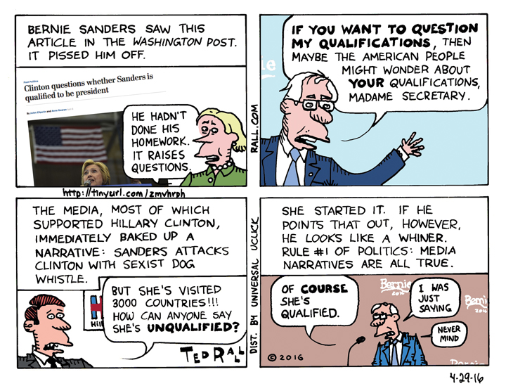 Bernie Sanders qualifications Hillary Clinton ted rall cartoon