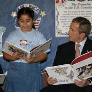 George Bush book upside down 9/11
