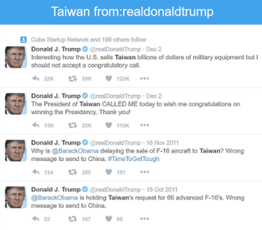 trump tweets taiwan and china china threatens trump one china