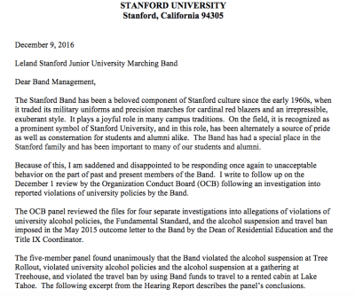 standford band suspension stanford suspends stanford band