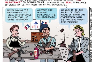 world war ii resistance vs trump resistance ted rall cartoon