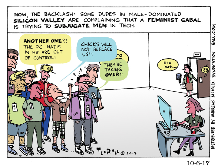 chicks will not replace us cartoon ted rall silicon valley