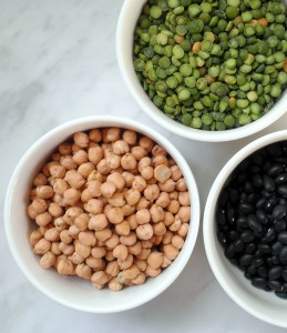Chickpeas, black beans, and split peas
