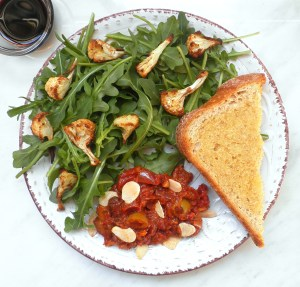 Caponata Plate with Rocket and Roasted Cauliflower
