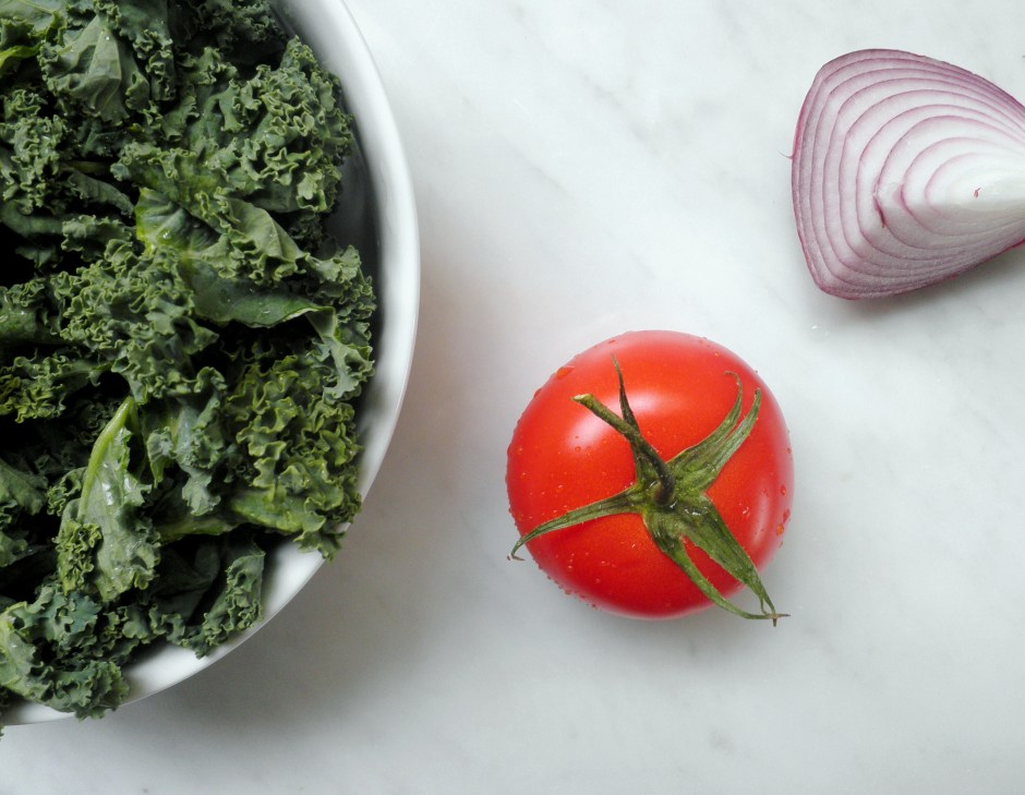 kale, tomato, and red onion