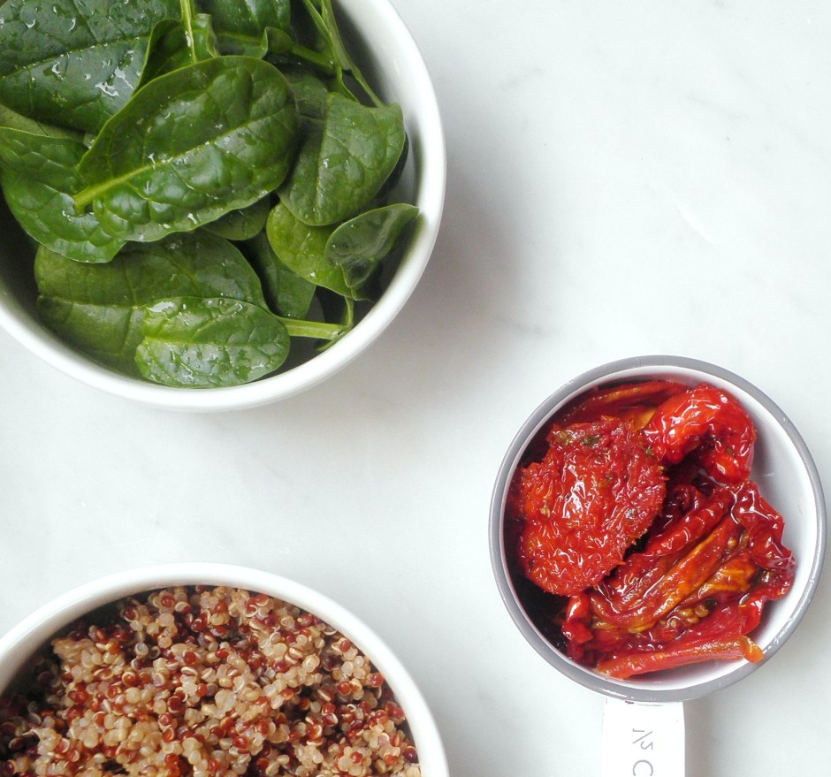 Quinoa, baby spinach, and sun-dried tomatoes