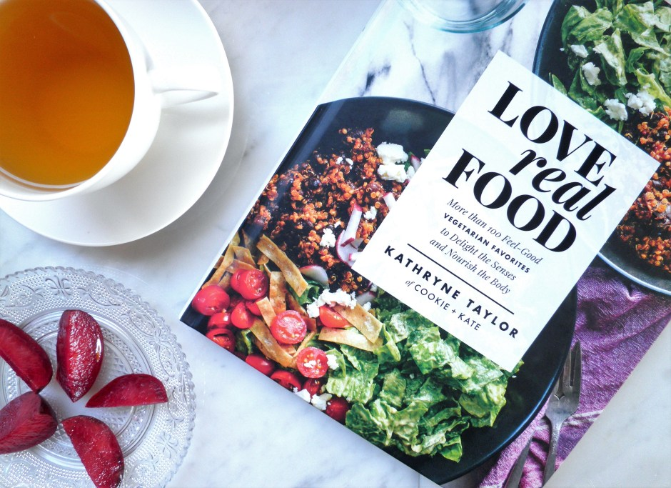 Love Real Food cookbook and a cup of tea