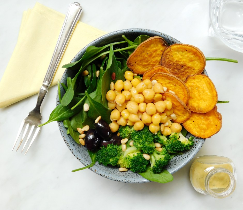 Sweet Potato Chip Power Bowl with Lemon Dijon Dressing