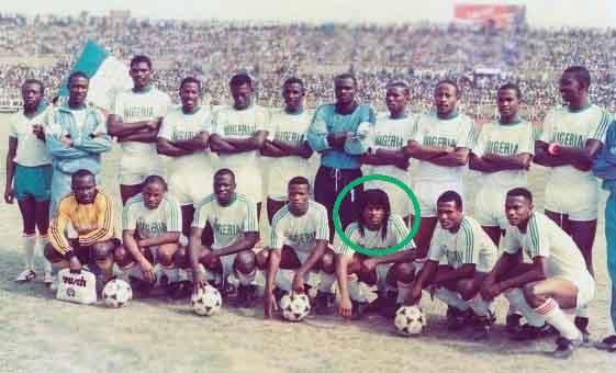 Samuel Okwaraji with Nigeria Super Eagles