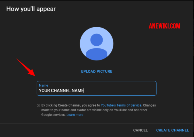 Create the name of your channel