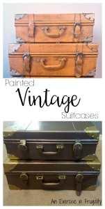 Refinished Vintage Suitcases Decor