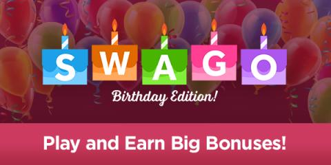 Happy Birthday, Swagbucks! Play Swago all week and win! Plus sign up here and get a free 300SB bonus!