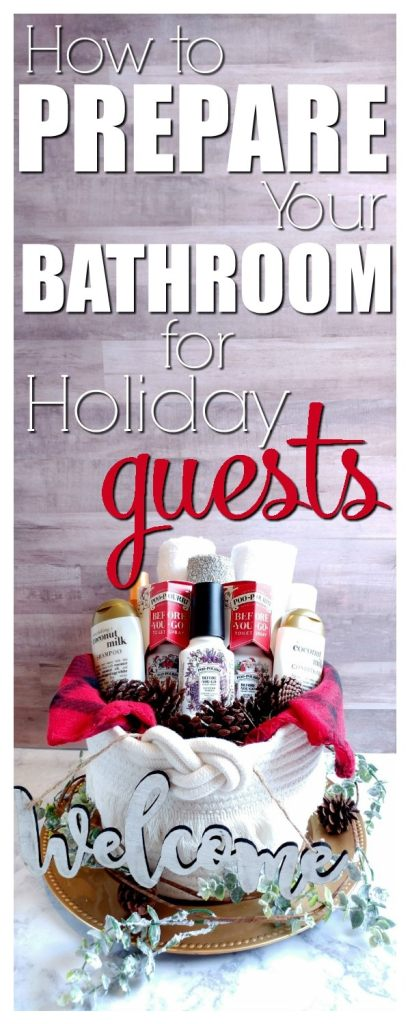 How to Prepare Your Bathroom for Holiday Guests- A fully stocked bathroom is the perfect way to welcome guests into your home for the holidays. These tips will help you create the perfect welcome basket. And if you only have one bathroom, you're gonna want to read this! #MerrySpritzmas #Christmas #PooPourri #bathroom #DIY #decor #AD