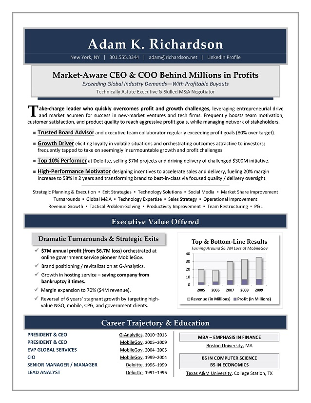 CEO & COO Resume Sample Page 1