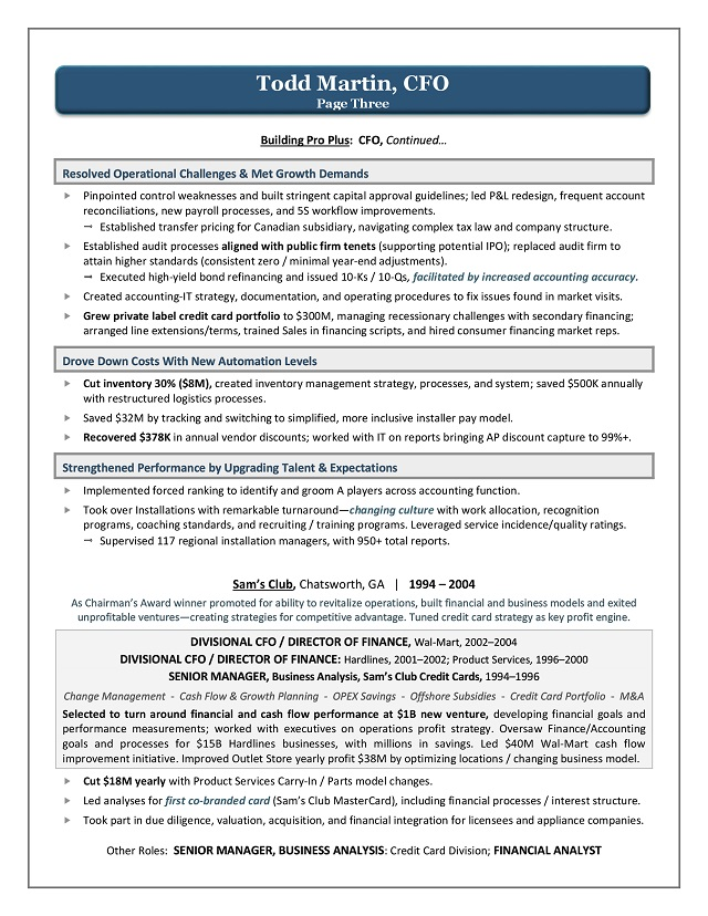 Award Winning CFO Resume Sample Page 3