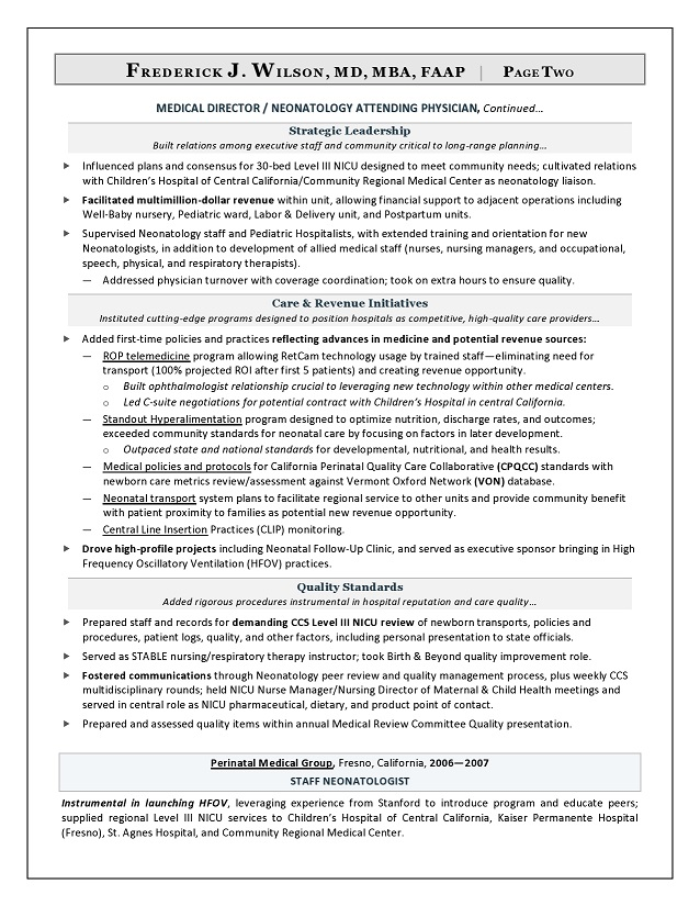 Chief Medical Officer  Resume Sample Page 2