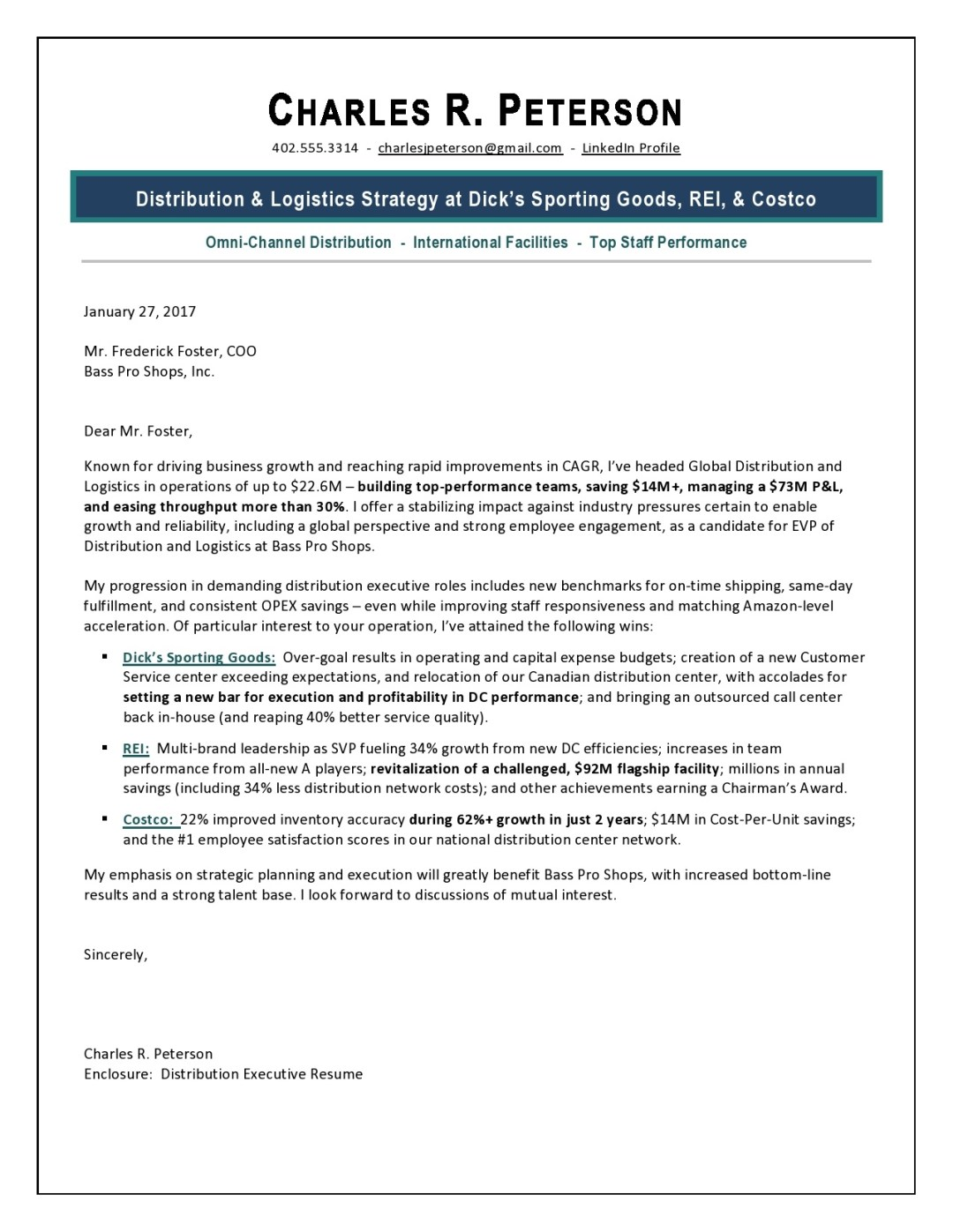 VP Corporate Strategy Cover Letter Sample