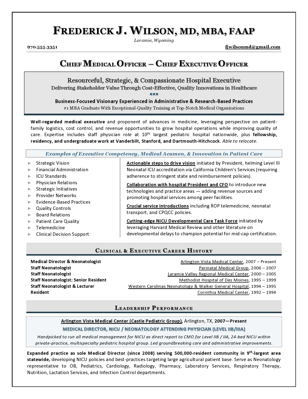 Physician Resumes Chief Medical Officer Sample Resume Executive Resume Writer For