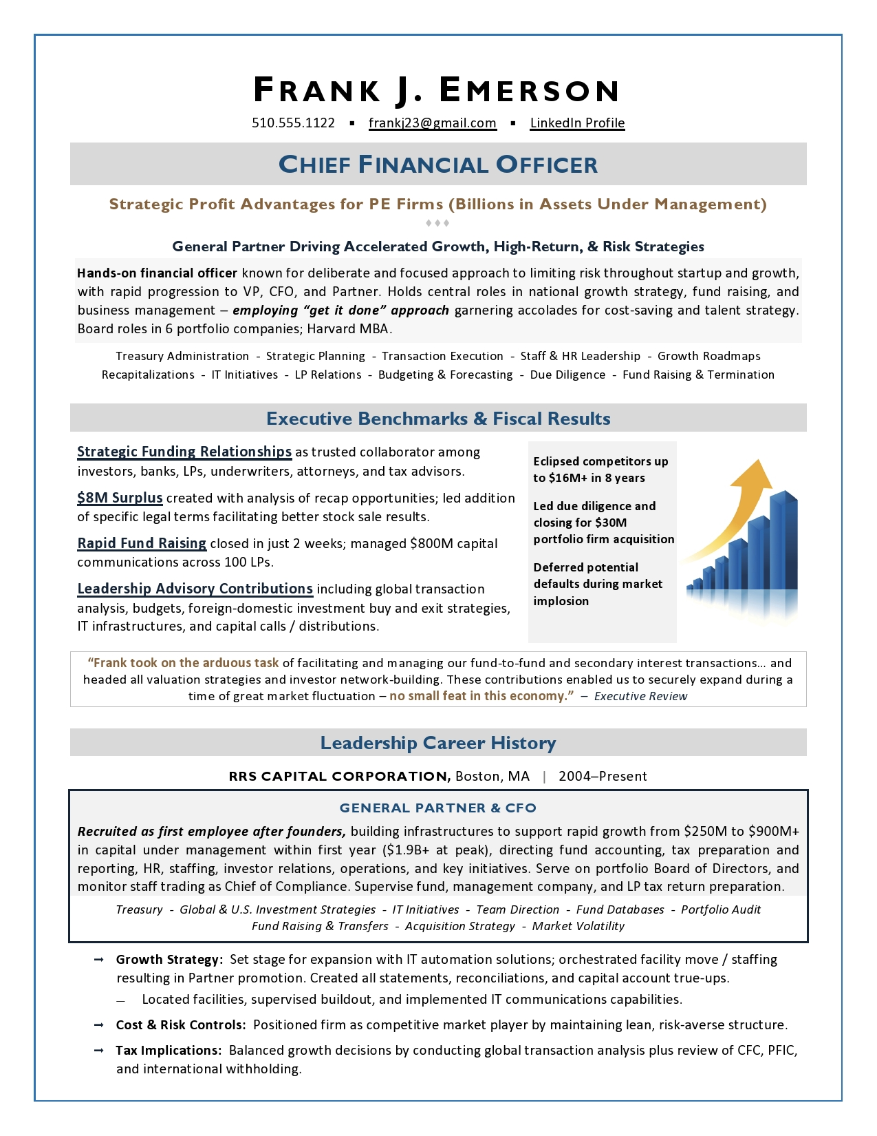 Private Equity CFO Resume