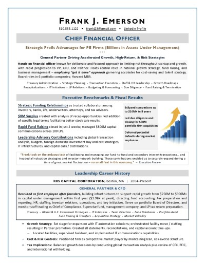 Private Equity CFO Resume Writer