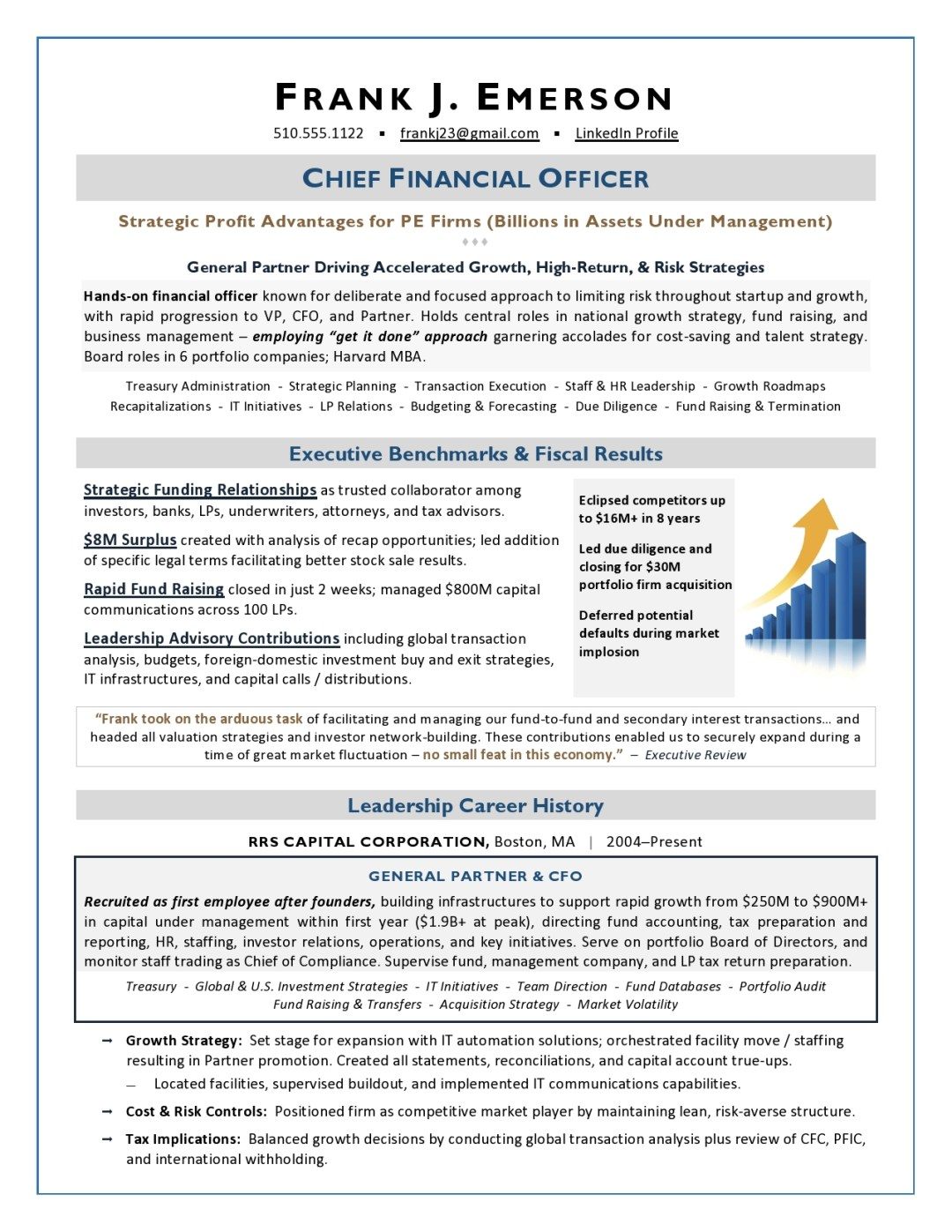 Private Equity CFO Resume Sample Page 1