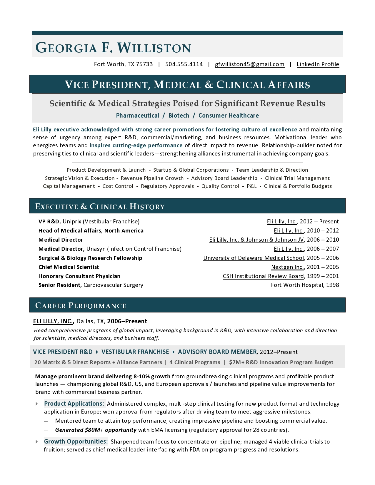 VP Medical Affairs Resume by Laura Smith-Proulx