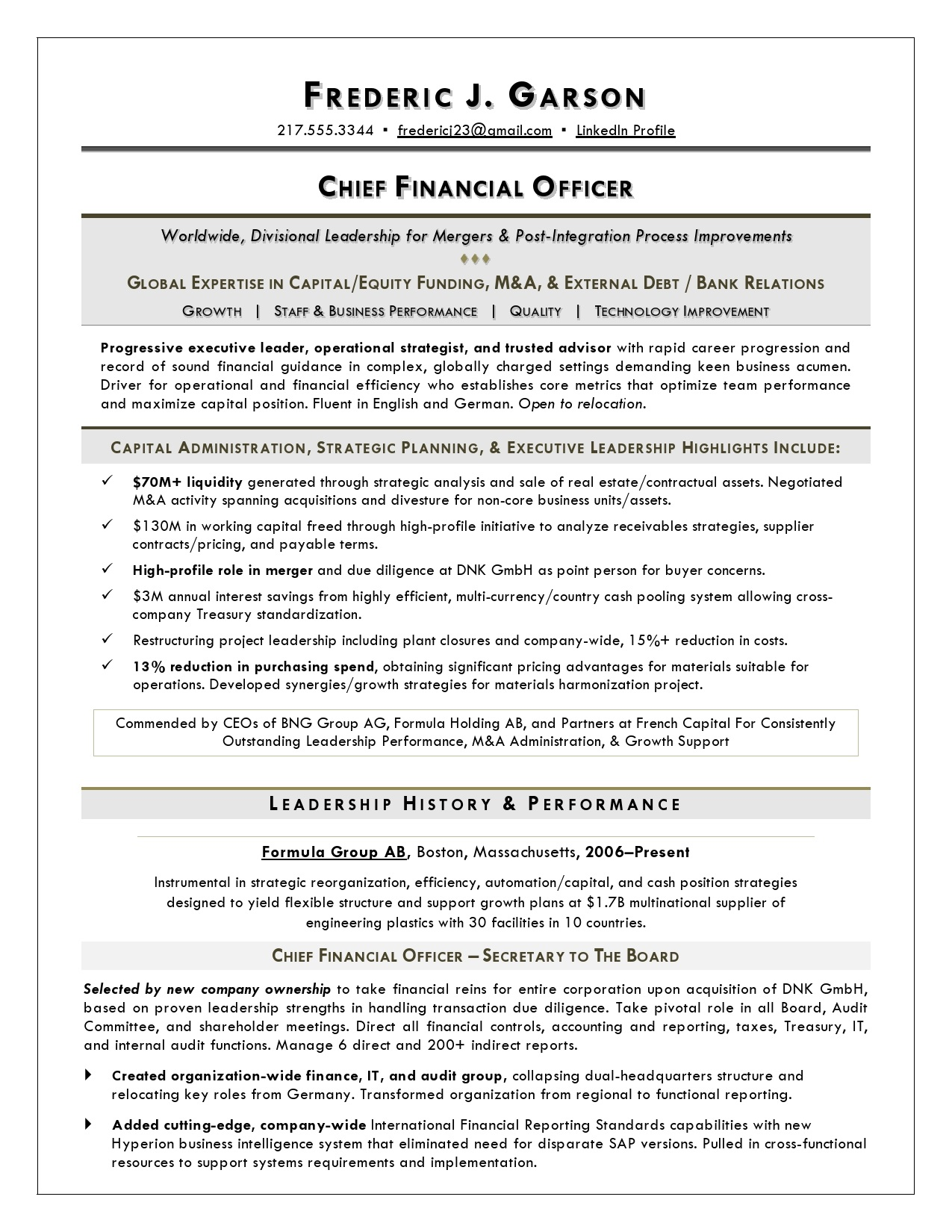bank cfo resume examples