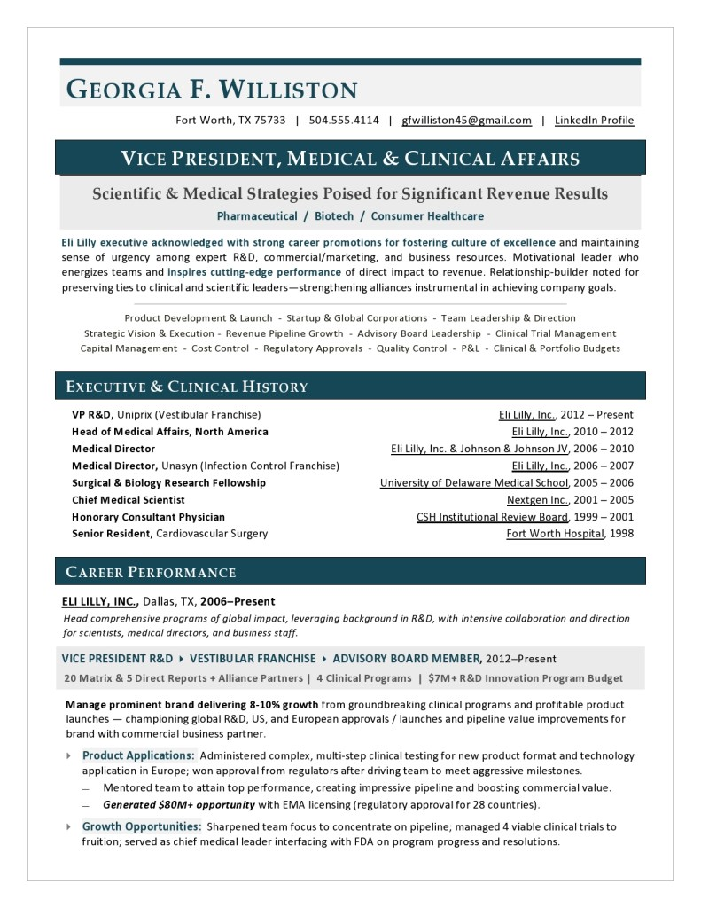 VP Medical Affairs Resume