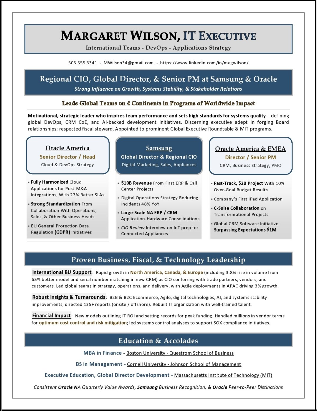 ceo    coo sample resume by resume expert laura smith