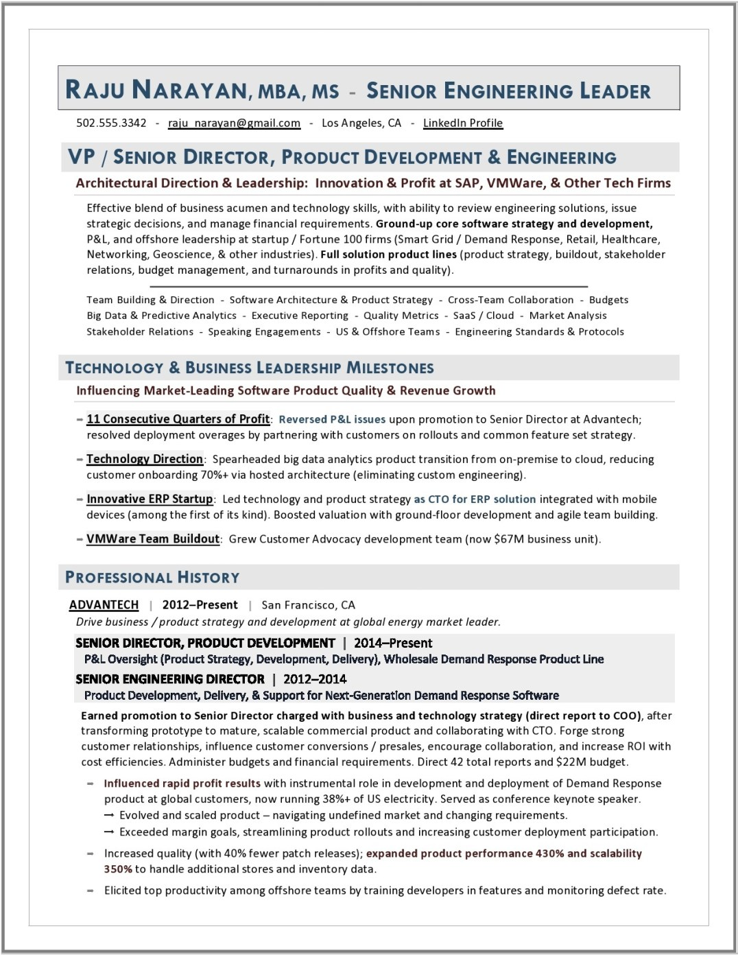 VP Engineering & Product Development Sample by Laura Smith-Proulx