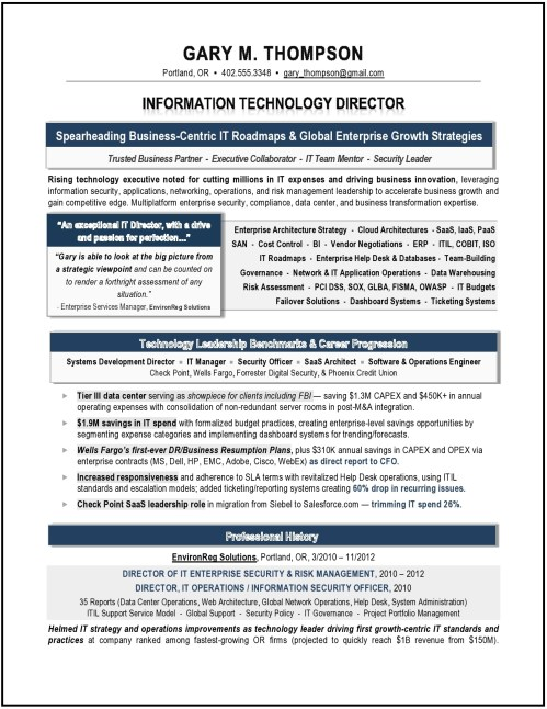 IT Director Resume Sample, Award-Winning IT Director Resume by Laura Smith-Proulx