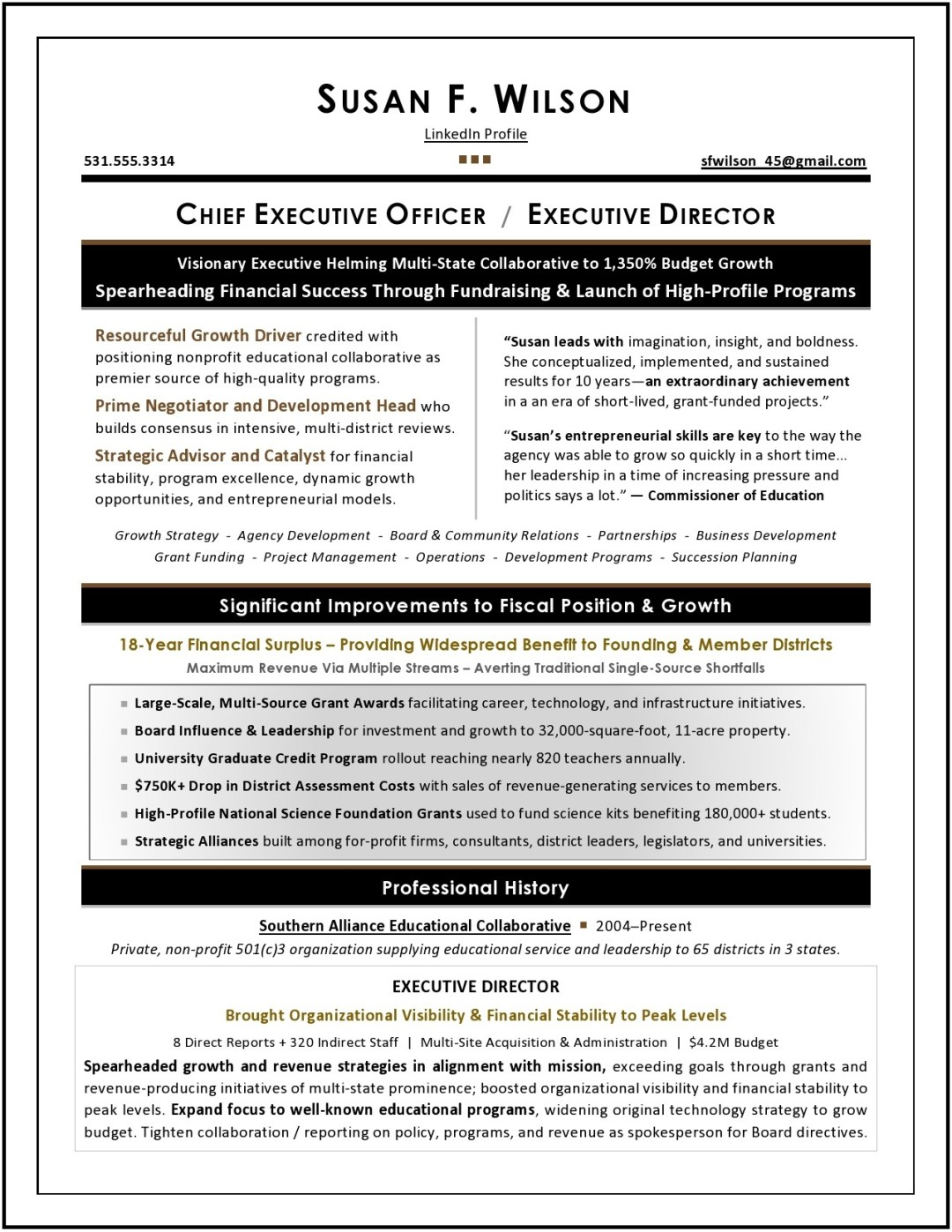 Chief Revenue Officer Resume Sample Page 1
