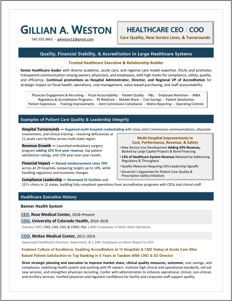Healthcare Executive Resume CEO & COO Sample Resume