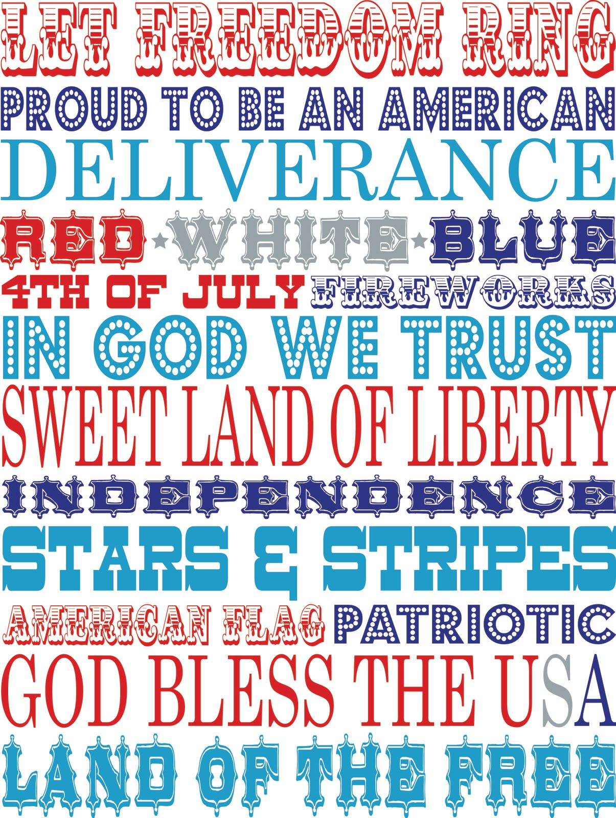 4th Of July Patriotic Printables