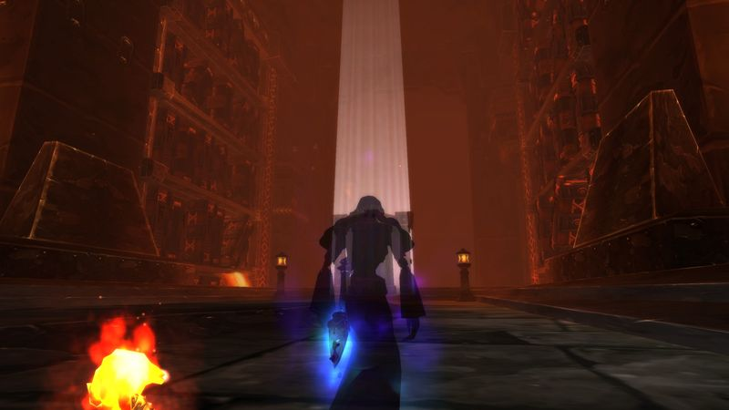 Just a typical day in the life of a Shadow Priest: a solitary path, down a long corridor, into a dark room.